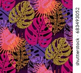 seamless pattern with trendy... | Shutterstock .eps vector #683493052