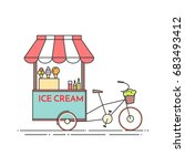 ice cream bicycle. cart on... | Shutterstock .eps vector #683493412