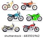 bike and motorbike flat vector...   Shutterstock .eps vector #683501962
