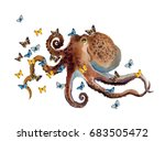 watercolor octopus with... | Shutterstock . vector #683505472