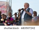 Small photo of Gdansk, Poland, 22.07.2017 - former President of Poland Lech Walesa speaking during the demonstration supporting independence of the Polish judiciary and against the Law and Justice Party