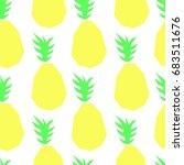 flat pineapple pattern vector | Shutterstock .eps vector #683511676
