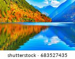 view of panda lake at autumn... | Shutterstock . vector #683527435
