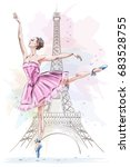 beautiful ballerina posing and... | Shutterstock .eps vector #683528755