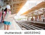 asian woman traveler waiting...   Shutterstock . vector #683535442