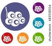viburnum branch icons set | Shutterstock .eps vector #683538316