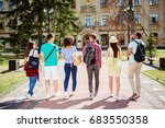Stock photo rear view of six students bachelor s campus life rhythm they are walking after to college 683550358
