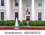 white house door red flowers... | Shutterstock . vector #683560522