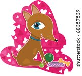 valentine heart dog with toys | Shutterstock .eps vector #68357539