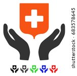 medical shield care hands flat... | Shutterstock .eps vector #683578645
