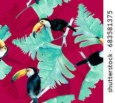 watercolor toucan   Shutterstock . vector #683581375