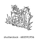 cartoon sketch of cowboy with... | Shutterstock .eps vector #683591956