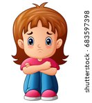 vector illustration of sad girl ... | Shutterstock .eps vector #683597398
