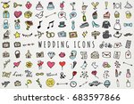 Hand Drawn Wedding & Marriage Icons Set - Full Color Sketched Illustrations Collection | Shutterstock vector #683597866