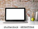 mock up of blank laptop on the...   Shutterstock . vector #683605366
