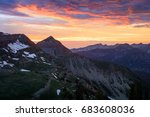 dramatic sunset in the wasatch... | Shutterstock . vector #683608036