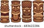 cartoon tiki totems. vector... | Shutterstock .eps vector #683622286