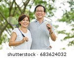 portrait of sporty aged asian... | Shutterstock . vector #683624032