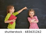 two children sisters play... | Shutterstock . vector #683631262