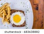 egg  steak and fries breakfast  ... | Shutterstock . vector #683638882
