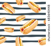 hot dog vector seamless pattern ... | Shutterstock .eps vector #683640448