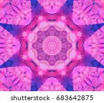 kaleidoscope pink flower.... | Shutterstock . vector #683642875