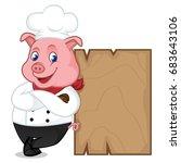 chef pig cartoon mascot leaning ... | Shutterstock .eps vector #683643106