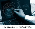 engineer working on computer on ... | Shutterstock . vector #683646586