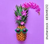 fashion hipster pineapple fruit.... | Shutterstock . vector #683648152