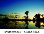 sunset an the amazon rainforest ...   Shutterstock . vector #683654566