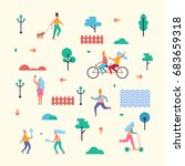 pattern made of characters that ... | Shutterstock .eps vector #683659318