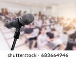 microphone over the blurred... | Shutterstock . vector #683664946