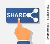 sharing button. hand pressing... | Shutterstock .eps vector #683665462