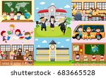 different scenes at school with ... | Shutterstock .eps vector #683665528