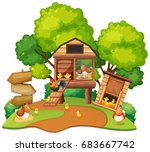 chickens lives in chicken coops ... | Shutterstock .eps vector #683667742
