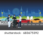 car crash or auto accident...   Shutterstock .eps vector #683675392