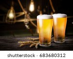 glasses of light beer with... | Shutterstock . vector #683680312