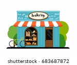 the facade of a bakery shop.... | Shutterstock .eps vector #683687872