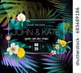 wedding invitation card design... | Shutterstock .eps vector #683689186