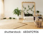 stylish natural bedroom with... | Shutterstock . vector #683692906