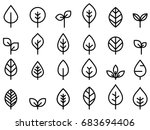 set of leaf line minimal icon | Shutterstock .eps vector #683694406