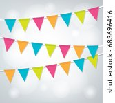 a set of bright party banners...   Shutterstock .eps vector #683696416