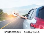 relaxed happy traveler  young... | Shutterstock . vector #683697616