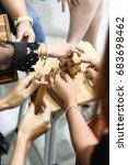 people play wooden block game | Shutterstock . vector #683698462