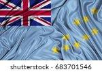 3d flag of tuvalu silk texture | Shutterstock . vector #683701546