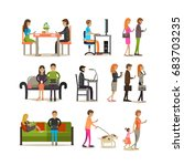 set of people young and adult... | Shutterstock . vector #683703235