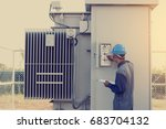 electrician working on checking ... | Shutterstock . vector #683704132