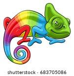 cartoon rainbow colored... | Shutterstock .eps vector #683705086