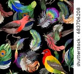 watercolor bird feather pattern ... | Shutterstock . vector #683706208
