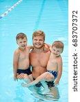 boy sitting on shoulders of... | Shutterstock . vector #683707372